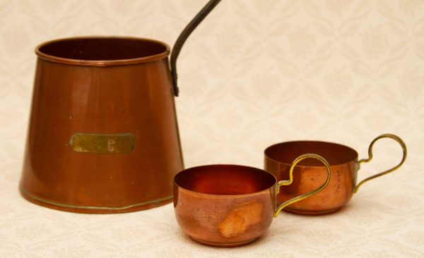 antique copper measuring cups, Copper Cider Jug and Two Copper Cups, Measuring Jug With Long Handle