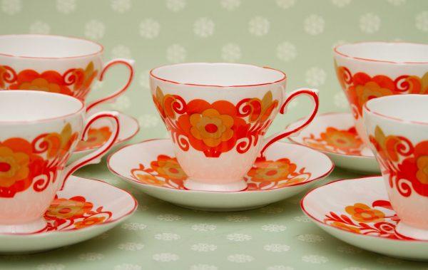 Orange Floral 1960's tea set, Royal Sutherland Orange Flower Power 1960's Teacups, Saucers,10 Piece Tea Set