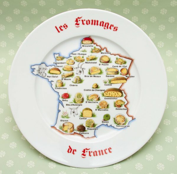 Limoges Fromages de France Plate, Large Vintage Porcelain Plate 'Les Fromages de France' Design, Limoges France. French Cheese Decorative Display Plate
