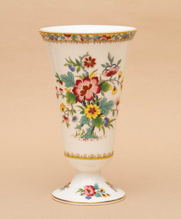 Coalport Ming Rose Vintage Vase, Coalport Ming Rose Vintage China Flare Top Vase