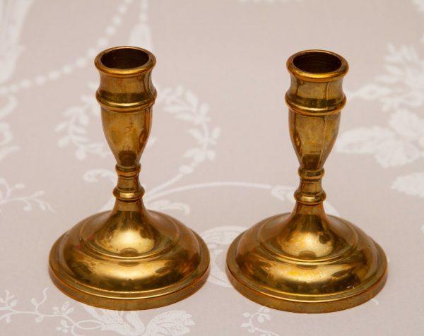 antique brass heavy candlesticks, Pair of Vintage Brass Candlesticks, Dinner/Taper Candle Holders