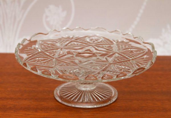 Glass Vintage Cake Stand, Small Vintage Glass Cake Stand Pedestal Cake Plate