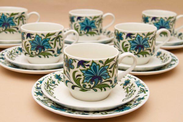 Midwinter Spanish Garden 1960's, Midwinter Spanish Garden 1960's Teacups, Saucers, Side Plates 18 Piece Tea Set, Jessie Tait