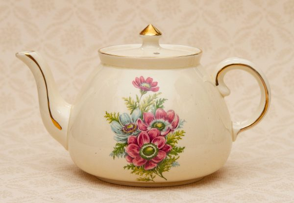 Gibsons pink blue flower teapot, Gibsons Vintage Pink And Blue Floral Teapot