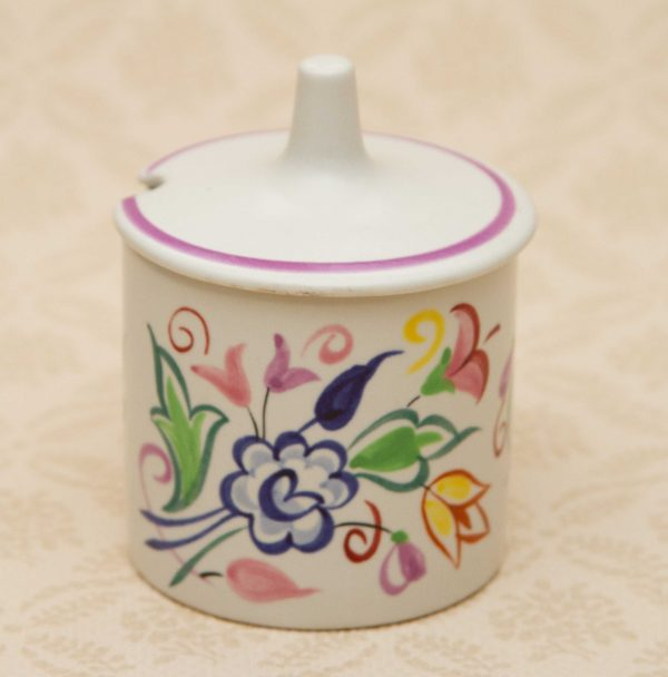 Poole Pottery Hand Painted Pot, Poole Pottery Hand Painted Lidded Jar Jam Preserve Pot BN Design Signed