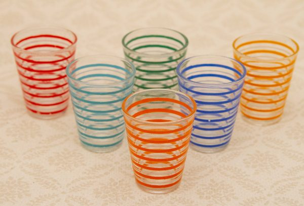 Multicoloured Striped Vintage Shot Glasses, Multicoloured Striped Vintage Shot Glasses VCA France, Set of 6