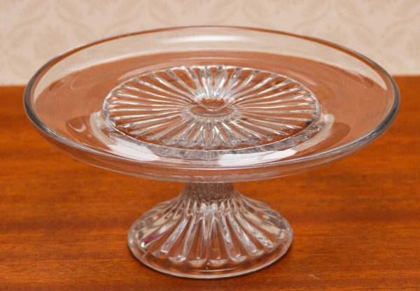 Glass Vintage Cake Stand, Clear Glass Vintage Cake Stand Pedestal Cake Plate