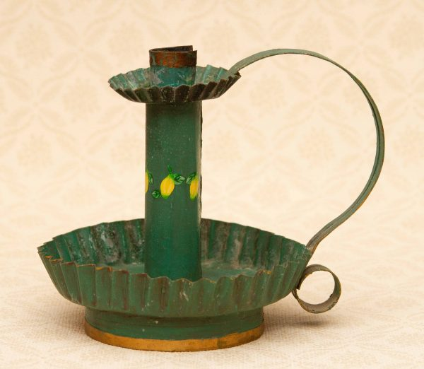rustic handmade chamberstick Candlestick, Green Painted Tin Candlestick Chamberstick Wee Willie Winkie Candle Holder