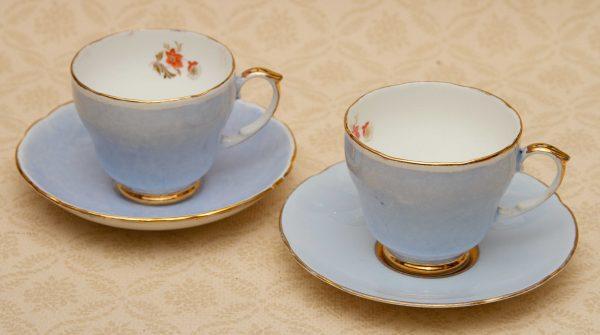 Royal Stuart 1950's cups saucers, Royal Stuart Spencer Stevenson 1950's  Blue & Gold Tea Cups, Saucers