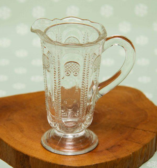 Art Deco Glass Jug, Small Narrow Art Deco Clear Glass Jug