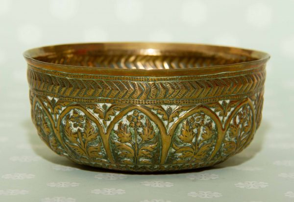 embossed Indian brass bowl, Embossed Indian Brass Vintage Bowl With Arch and Flower Pattern