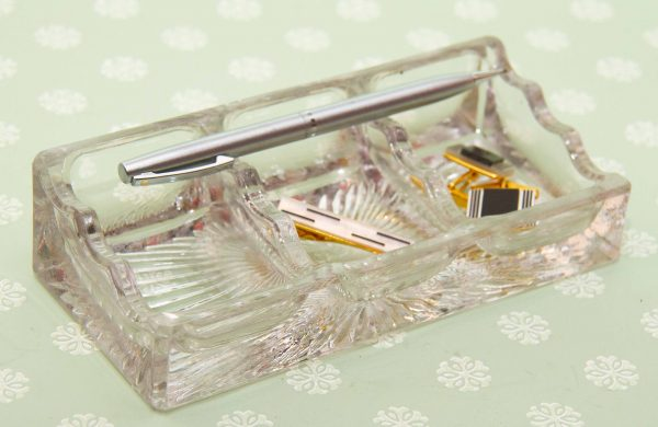 Cado glass pen rest desk tidy, Heavy Vintage Cado Glass Pen Rest, Desk Tidy, 3 Section Trinket Dish