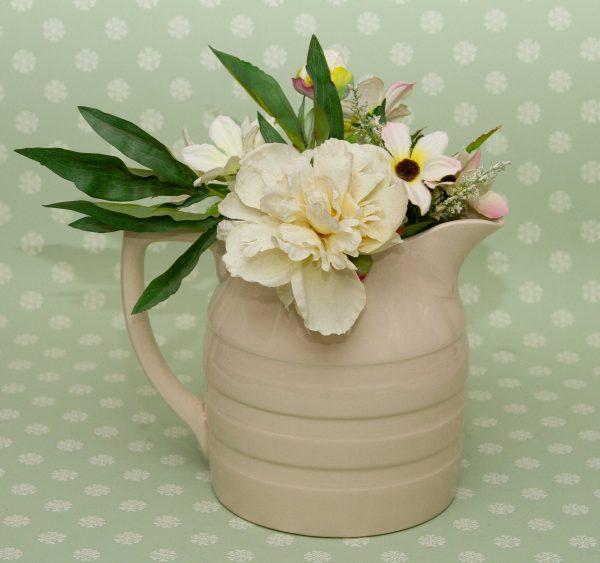 Large white banded Sadler jug, Large White Banded Vintage Sadler Jug, Pitcher, Vase